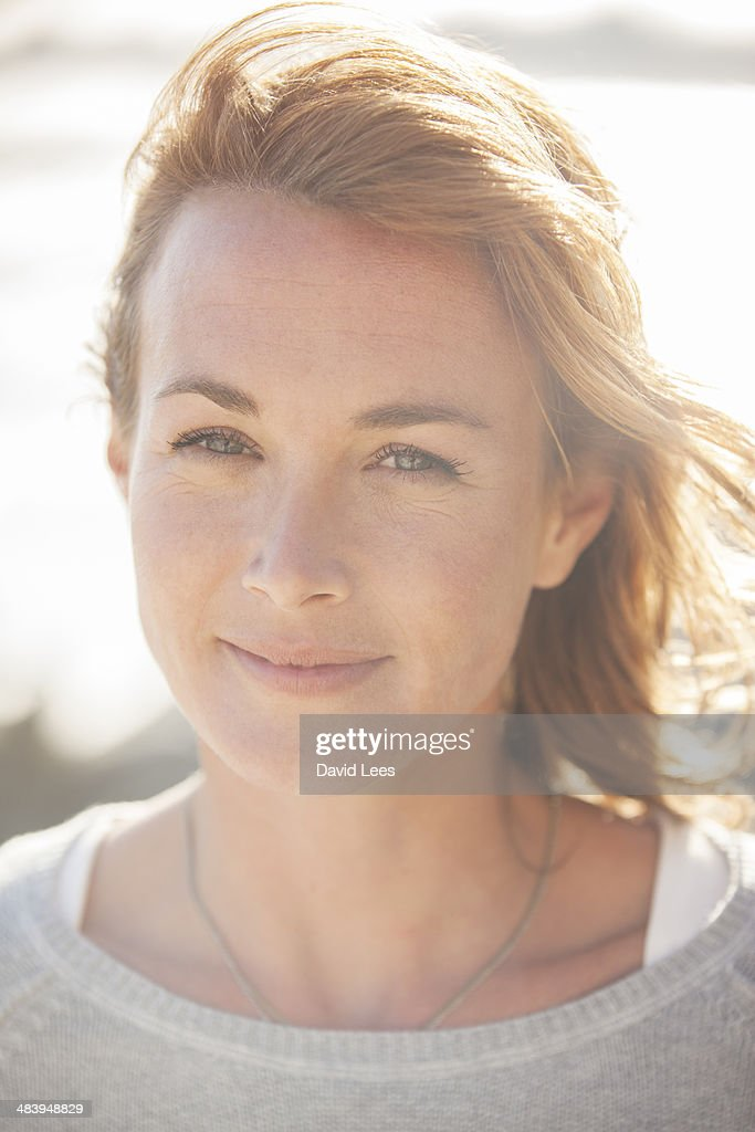 Close up portrait of woman on beach