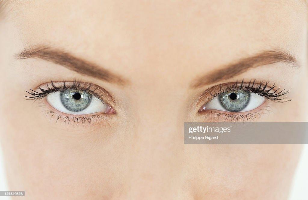 Close up portrait of womans eyes
