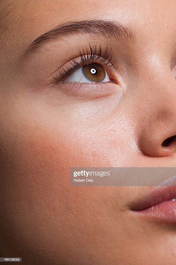 Close up portrait of woman's face : Stock Photo