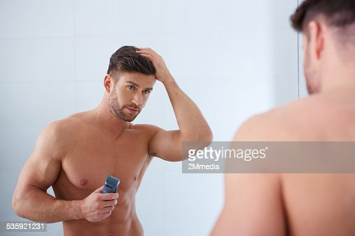 Close up portrait of young handsome man with perfect skin : Stock Photo