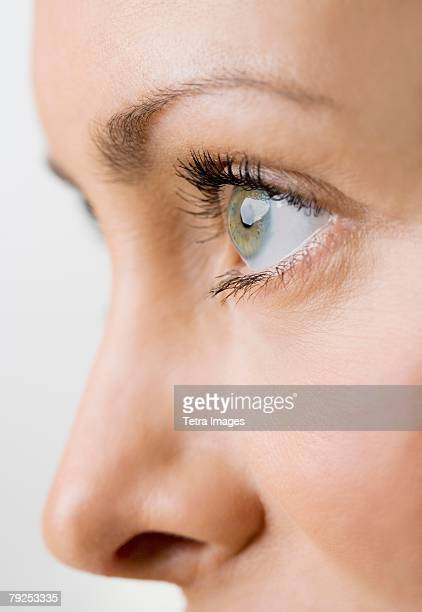 Close up profile of a womans face