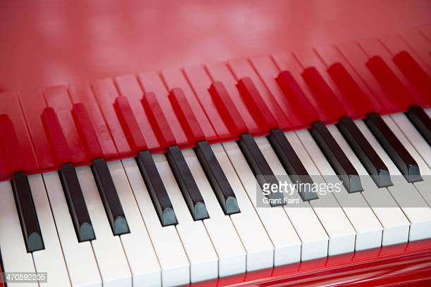 Close up red piano