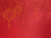 Chinese new year background,Lantern and flower symbol on red silk texture