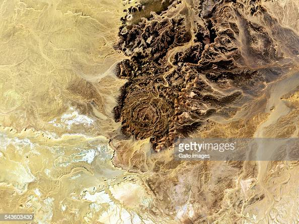 A close up satellite shot of Tin Bider crater on March 27 2016 The carter was created by a meteorite impact located east of In Salah Algeria on the...