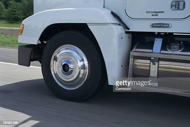 Close up semi truck wheel