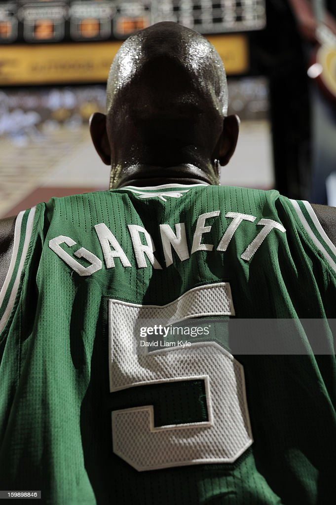 Close up shot from behind of Kevin Garnett #5 of the Boston Celtics during a break in the action against the Cleveland Cavaliers at The Quicken Loans Arena on January 22, 2013 in Cleveland, Ohio.