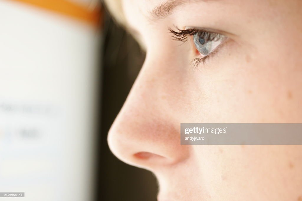 Close up shot of a girl's profile and eye : Stock Photo