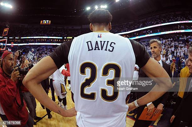 A close up shot of Anthony Davis of the New Orleans Pelicans against the Golden State Warriors after Game Four of the Western Conference...