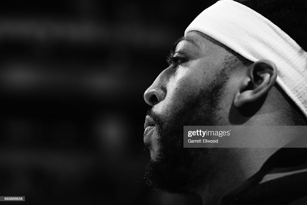 A close up shot of Anthony Davis #23 of the New Orleans Pelicans before the game against the Denver Nuggets on December 15, 2017 at the Pepsi Center in Denver, Colorado.