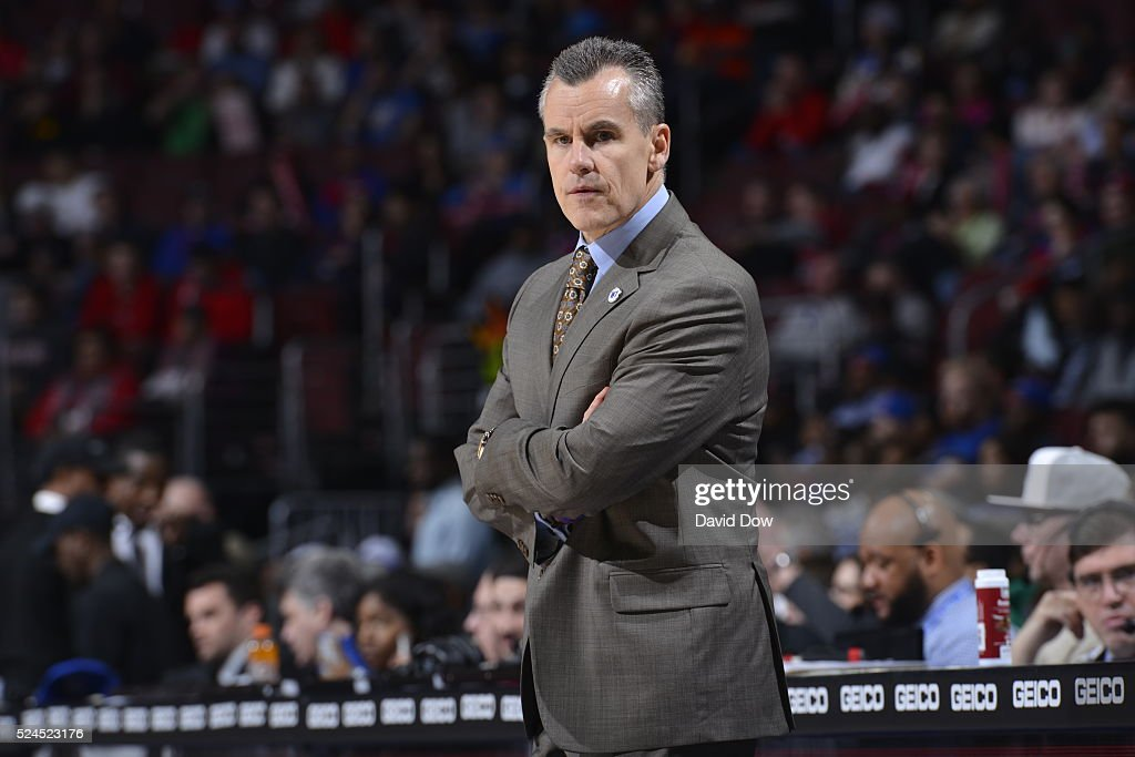 A close up shot of Billy Donovan of the Oklahoma City Thunder coaching during the game against the Philadelphia 76ers at the Wells Fargo Center on March 18, 2016 in Philadelphia, Pennsylvania.