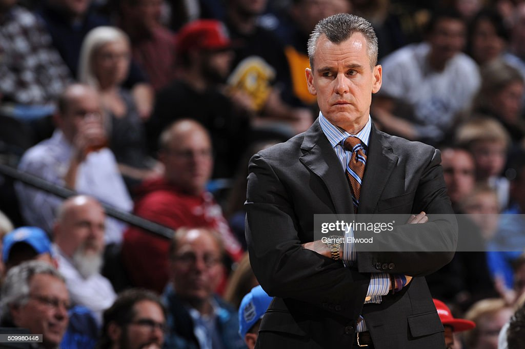 A close up shot of Billy Donovan of the Oklahoma City Thunder during the game against the Denver Nuggets on January 19, 2016 at the Pepsi Center in Denver, Colorado.