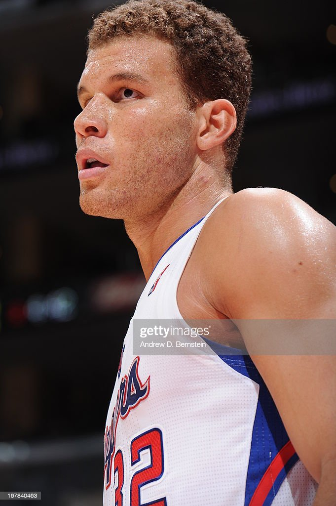 A close up shot of <a gi-track='captionPersonalityLinkClicked' href=/galleries/search?phrase=Blake+Griffin+-+Basketball+Player&family=editorial&specificpeople=4216010 ng-click='$event.stopPropagation()'>Blake Griffin</a> #32 of the Los Angeles Clippers during the game against the Phoenix Suns at Staples Center on April 3, 2013 in Los Angeles, California.