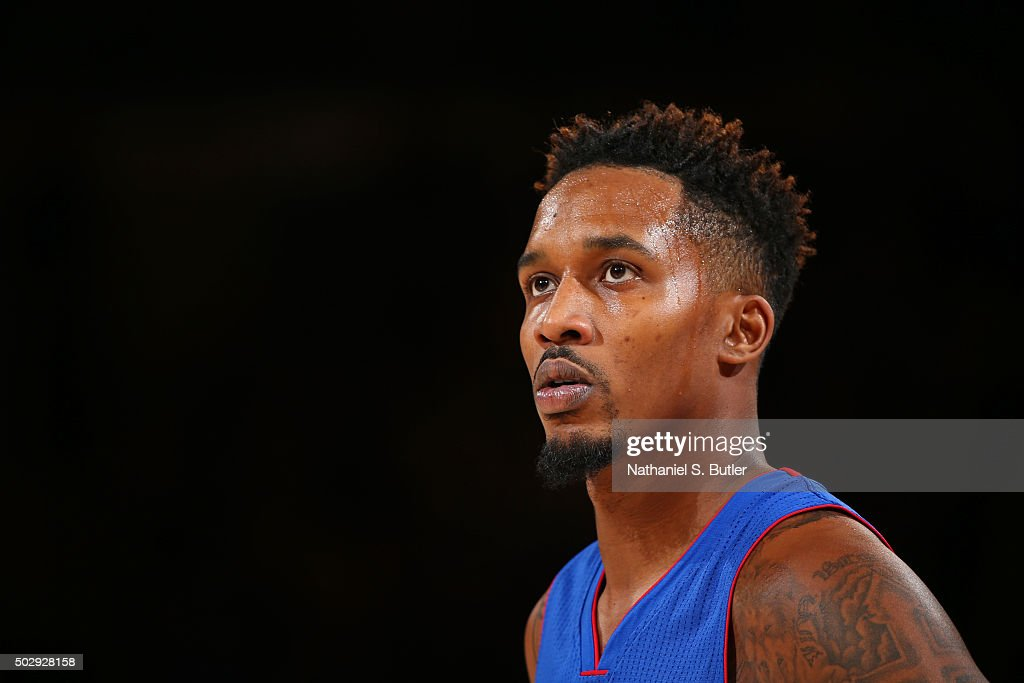 A close up shot of <a gi-track='captionPersonalityLinkClicked' href=/galleries/search?phrase=Brandon+Jennings+-+Jogador+de+basquete&family=editorial&specificpeople=6022589 ng-click='$event.stopPropagation()'>Brandon Jennings</a> #7 of the Detroit Pistons during the game against the New York Knicks on December 29, 2015 at Madison Square Garden in New York City, New York.