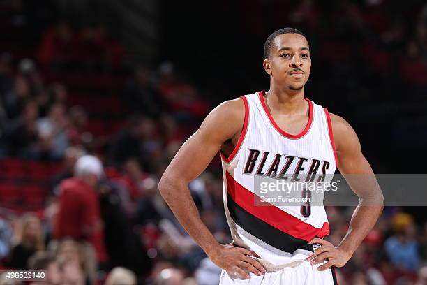 A close up shot of CJ McCollum of the Portland Trail Blazers during the game against the Phoenix Suns on October 31 2015 at the Moda Center in...