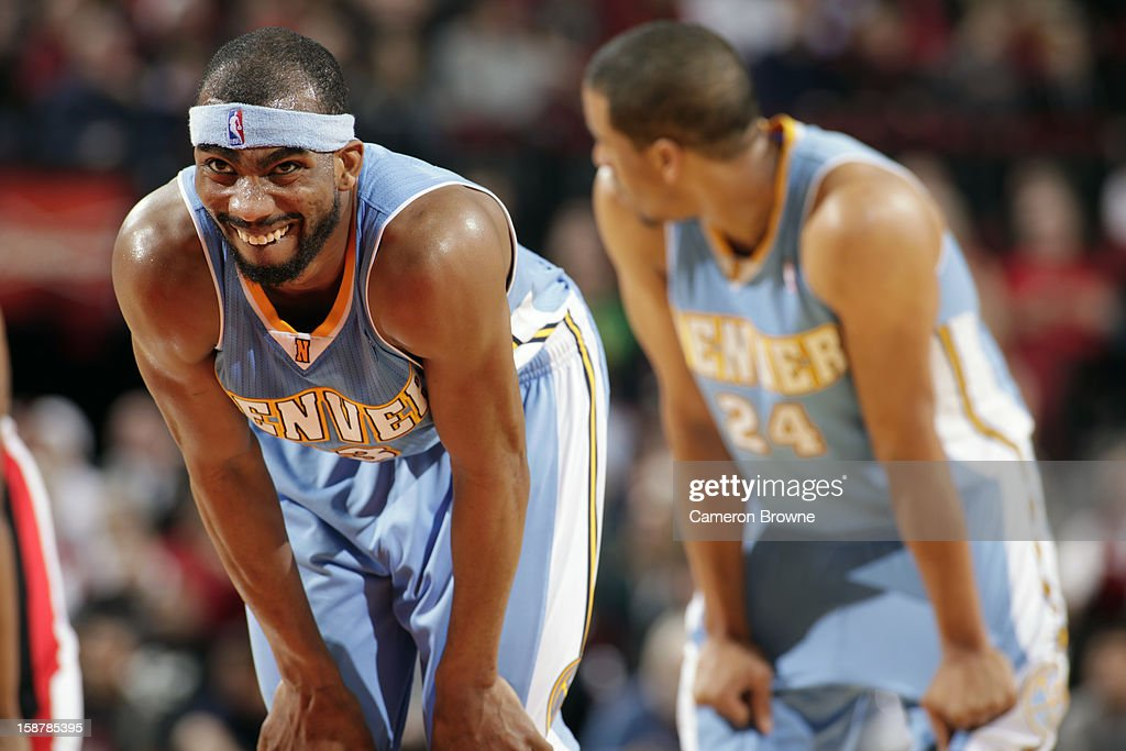 A close up shot of <a gi-track='captionPersonalityLinkClicked' href=/galleries/search?phrase=Corey+Brewer&family=editorial&specificpeople=234749 ng-click='$event.stopPropagation()'>Corey Brewer</a> #13 of the Denver Nuggets as he awaits a foul shot against the Portland Trail Blazers on December 20, 2012 at the Rose Garden Arena in Portland, Oregon.