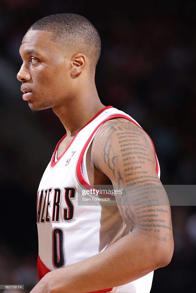 A close up shot of <a gi-track='captionPersonalityLinkClicked' href=/galleries/search?phrase=Damian+Lillard&family=editorial&specificpeople=6598327 ng-click='$event.stopPropagation()'>Damian Lillard</a> #0 of the Portland Trail Blazers as he walks off the court during the game against the Los Angeles Clippers on January 26, 2013 at the Rose Garden Arena in Portland, Oregon.