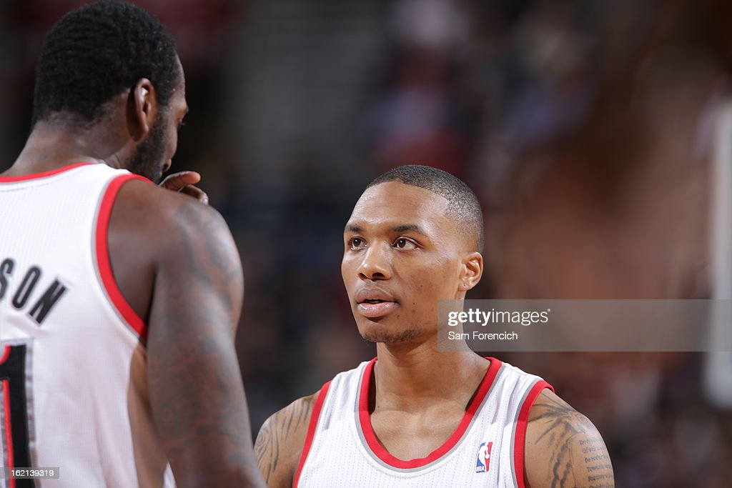 A close up shot of <a gi-track='captionPersonalityLinkClicked' href=/galleries/search?phrase=Damian+Lillard&family=editorial&specificpeople=6598327 ng-click='$event.stopPropagation()'>Damian Lillard</a> #0 of the Portland Trail Blazers during the game against the Utah Jazz on February 2, 2013 at the Rose Garden Arena in Portland, Oregon.