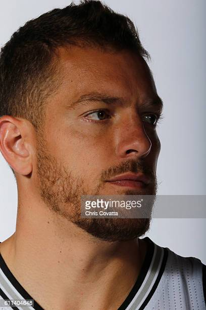 A close up shot of David Lee of the San Antonio Spurs during Media Day at the Spurs Training Facility on September 26 2016 in San Antonio Texas NOTE...