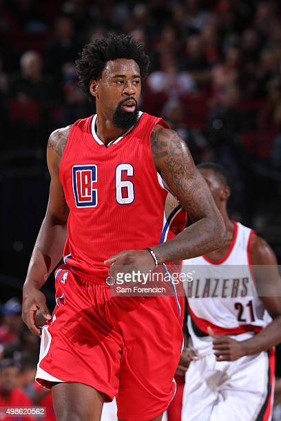 A close up shot of DeAndre Jordan of the Los Angeles Clippers during the game against the Portland Trail Blazers on November 20 2015 at the Moda...