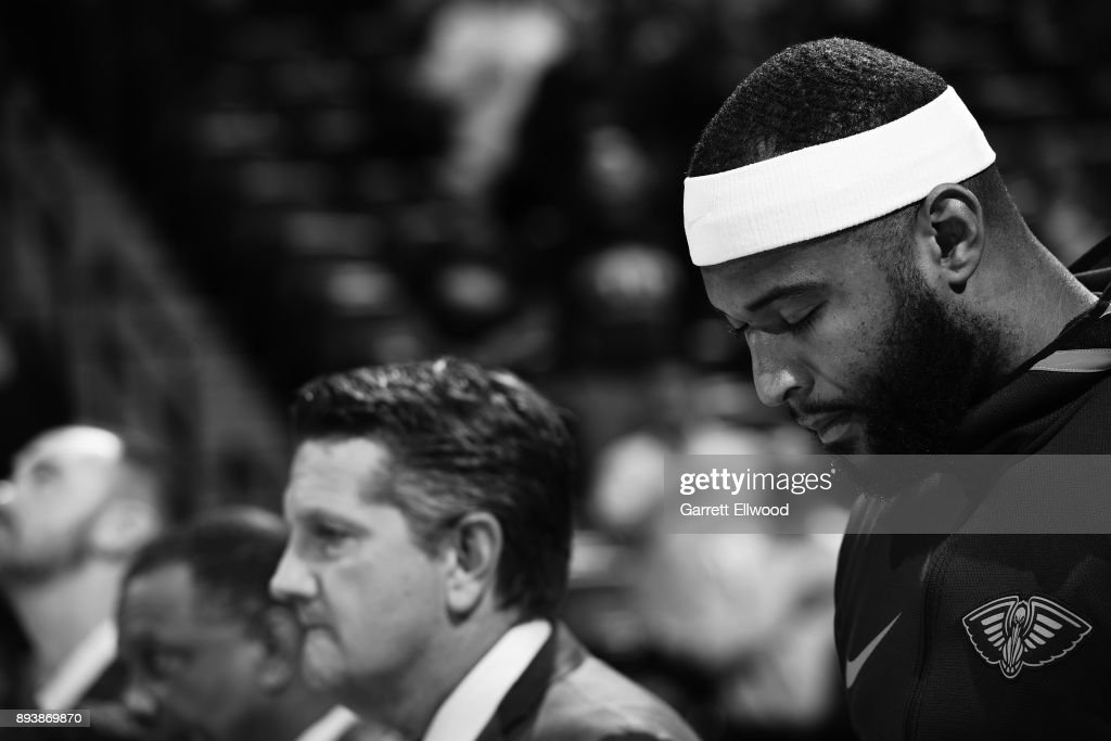 A close up shot of DeMarcus Cousins #0 of the New Orleans Pelicans standing for the National Anthem before the game against the Denver Nuggets on December 15, 2017 at the Pepsi Center in Denver, Colorado.