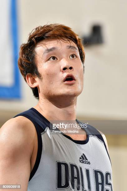 A close up shot of Ding Yanyuhang of the Dallas Mavericks during the Mountain Dew Orlando Pro Summer League Championship Game against the Detroit...