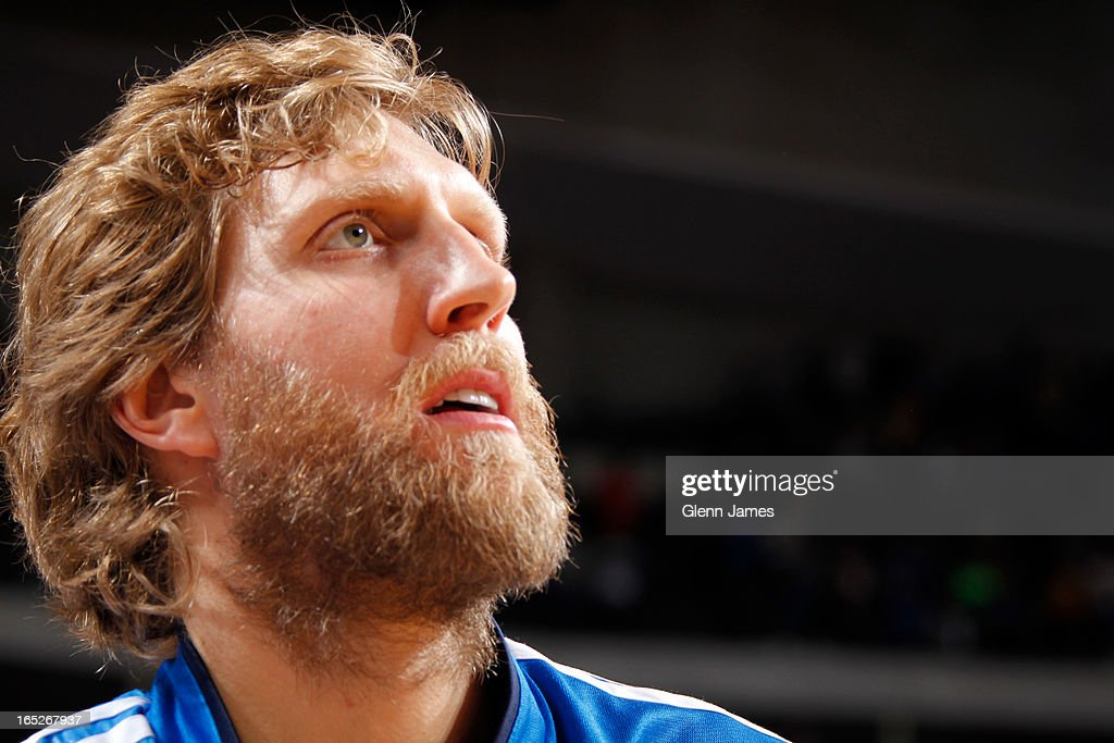 A close up shot of <a gi-track='captionPersonalityLinkClicked' href=/galleries/search?phrase=Dirk+Nowitzki&family=editorial&specificpeople=201490 ng-click='$event.stopPropagation()'>Dirk Nowitzki</a> #41 of the Dallas Mavericks before the game against the Indiana Pacers on March 28, 2013 at the American Airlines Center in Dallas, Texas.