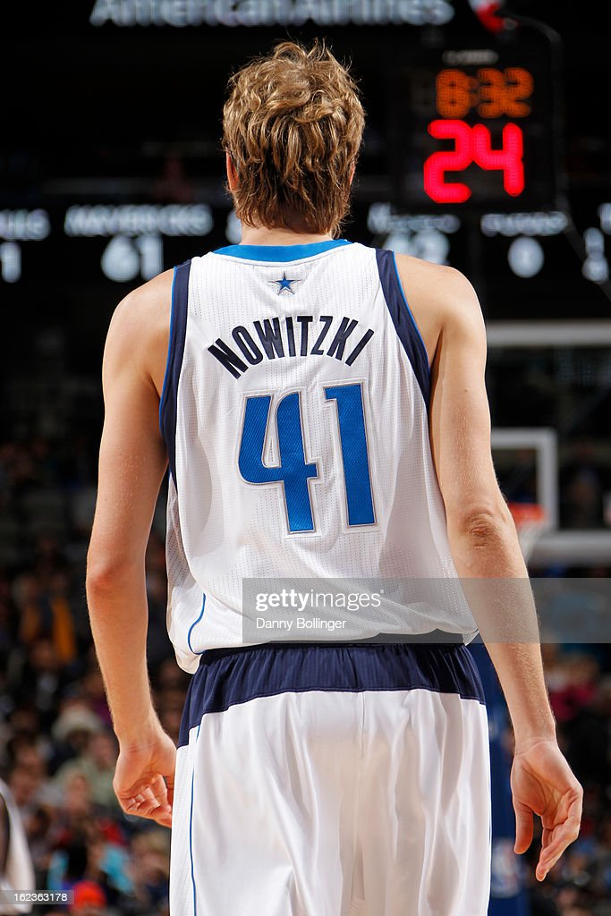 A close up shot of Dirk Nowitzki #41 of the Dallas Mavericks during the game against the Orlando Magic on February 20, 2013 at the American Airlines Center in Dallas, Texas.