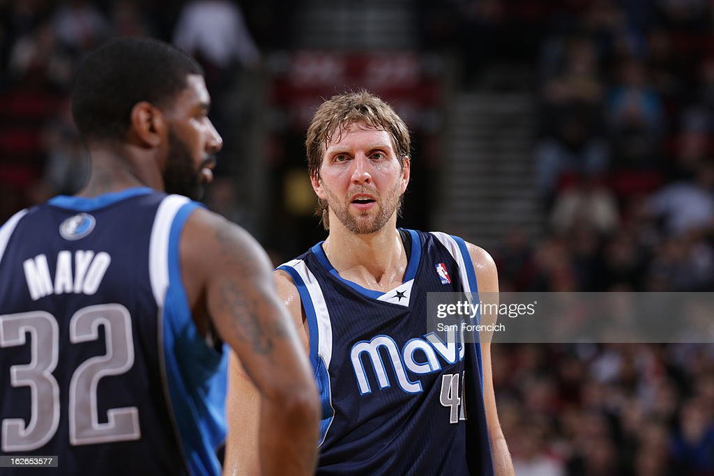 A close up shot of <a gi-track='captionPersonalityLinkClicked' href=/galleries/search?phrase=Dirk+Nowitzki&family=editorial&specificpeople=201490 ng-click='$event.stopPropagation()'>Dirk Nowitzki</a> #41 of the Dallas Mavericks during the game against the Portland Trail Blazers on January 29, 2013 at the Rose Garden Arena in Portland, Oregon.