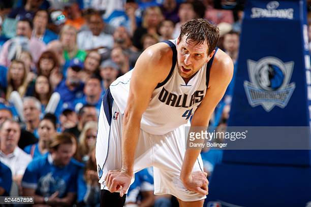 A close up shot of Dirk Nowitzki of the Dallas Mavericks in Game Three of the Western Conference Quarterfinals against the Oklahoma City Thunder...