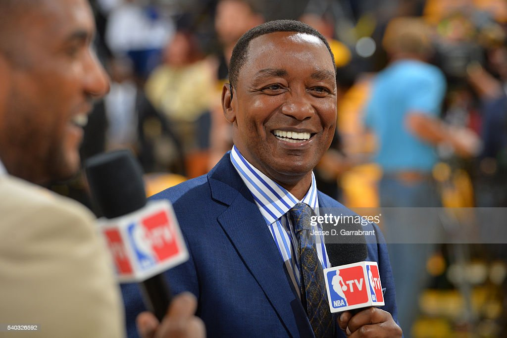 A close up shot of former NBA player, Isiah Thomas after Game Five of the 2016 NBA Finals between Cleveland Cavaliers and against the Golden State Warriors on June 13, 2016 at ORACLE Arena in Oakland, California.