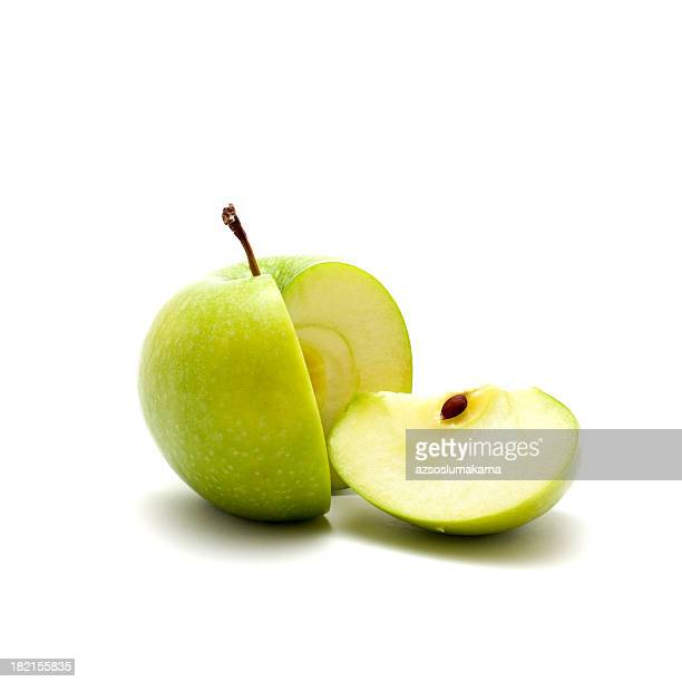 close up shot of green sliced apple