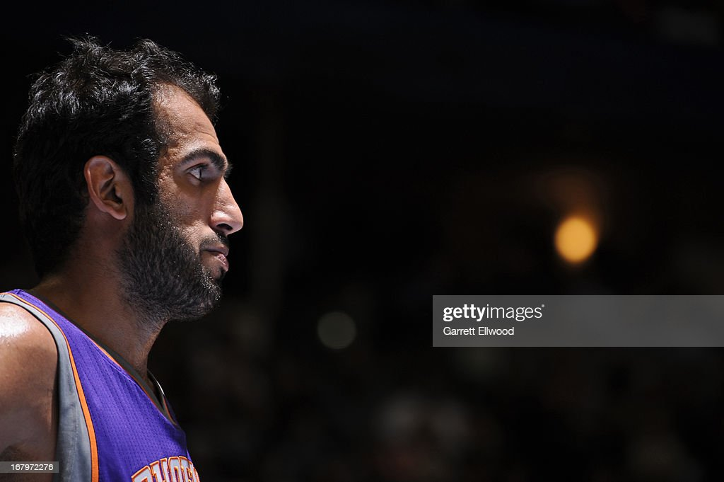 A close up shot of <a gi-track='captionPersonalityLinkClicked' href=/galleries/search?phrase=Hamed+Haddadi&family=editorial&specificpeople=5544688 ng-click='$event.stopPropagation()'>Hamed Haddadi</a> #98 of the Phoenix Suns during the game against the Denver Nuggets on April 17, 2013 at the Pepsi Center in Denver, Colorado.