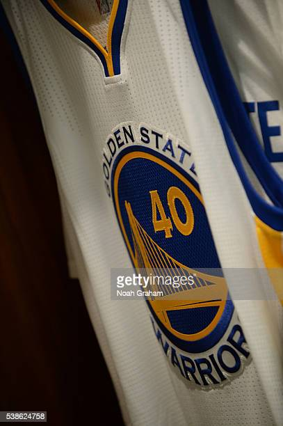 A close up shot of Harrison Barnes of the Golden State Warriors jersey in his locker before Game Two of the 2016 NBA Finals against the Cleveland...