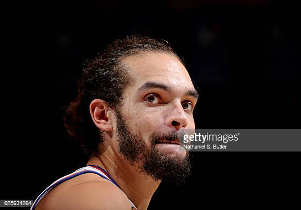 A close up shot of Joakim Noah of the New York Knicks during the game against the Charlotte Hornets at Madison Square Garden in New York New York...