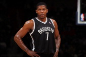 A close up shot of Joe Johnson of the Brooklyn Nets during the game against the Washington Wizards on February 8 2013 at the Verizon Center in...