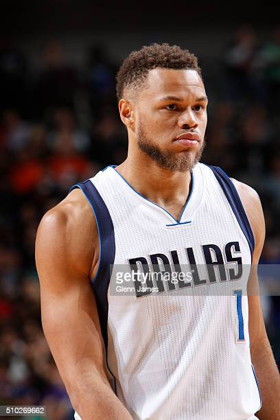 A close up shot of Justin Anderson of the Dallas Mavericks during the game against the San Antonio Spurs on February 5 2016 at the American Airlines...