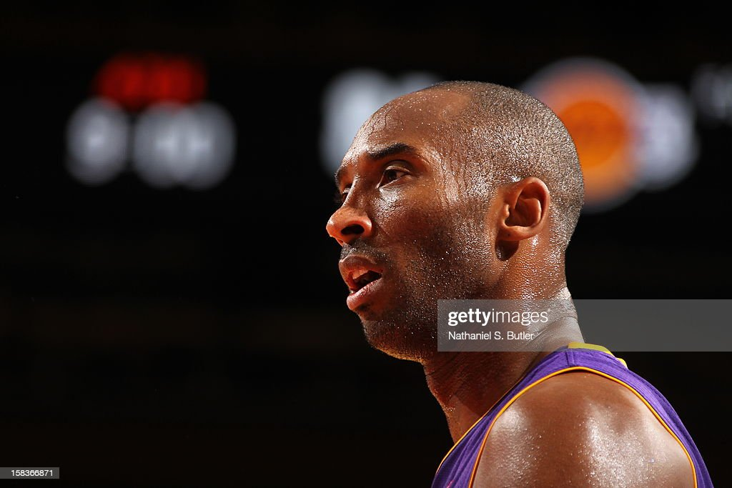 A close up shot of <a gi-track='captionPersonalityLinkClicked' href=/galleries/search?phrase=Kobe+Bryant&family=editorial&specificpeople=201466 ng-click='$event.stopPropagation()'>Kobe Bryant</a> #24 of the Los Angeles Lakers during the game against the New York Knicks on December 13, 2012 at Madison Square Garden in New York City.