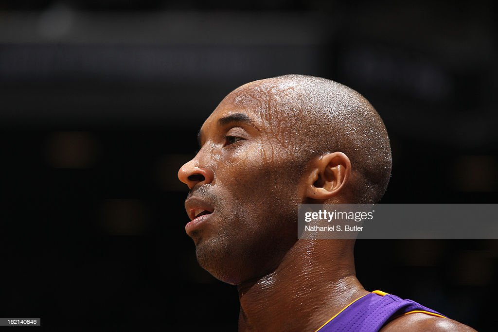 A close up shot of Kobe Bryant #24 of the Los Angeles Lakers during the game against the Brooklyn Nets on February 5, 2013 at the Barclays Center in the Brooklyn borough of New York City.