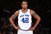 A close up shot of Lance Thomas of the New York Knicks during the game against the Detroit Pistons on December 29 2015 at Madison Square Garden in...