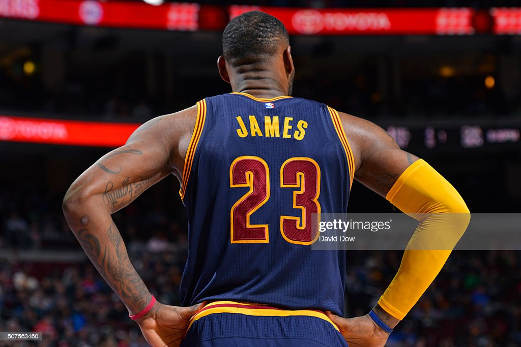 A close up shot of LeBron James #23 of the Cleveland Cavaliers during the game against the Philadelphia 76ers at the Wells Fargo Center on January 10, 2016 in Philadelphia, Pennsylvania.