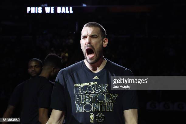 A close up shot of Marc Gasol of the Memphis Grizzlies yelling before the game against the Phoenix Suns on February 8 2017 at FedExForum in Memphis...