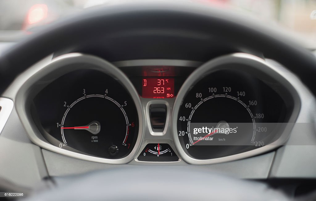 Close up shot of modern speedometer,car dashboard, : Stock-Foto