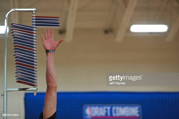 A close up shot of NBA draft combine participates competing in the vertical jump during the NBA Draft Combine at the Quest Multisport Center on May...