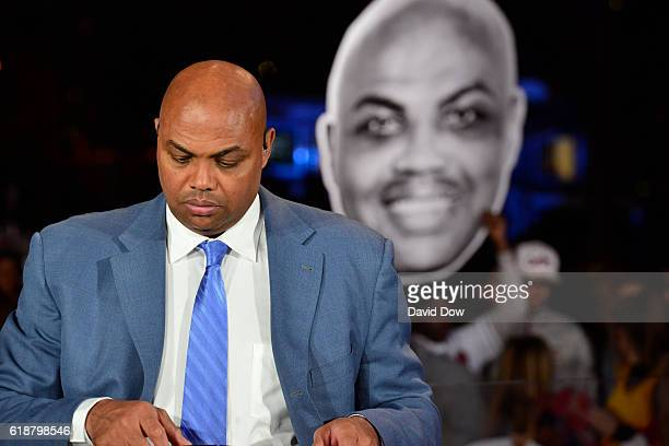 A close up shot of NBA TNT Analyst Charles Barkley getting ready on set for the show before the New York Knicks game against the Cleveland Cavaliers...