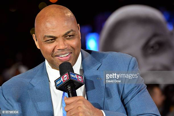 A close up shot of NBA TNT Analyst Charles Barkley talking on set before the New York Knicks game against the Cleveland Cavaliers on October 25 2016...