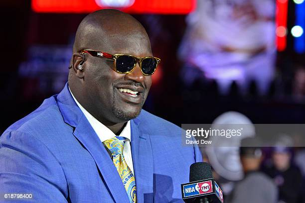 A close up shot of NBA TNT Analyst Shaquille O'Neal talking on set before the New York Knicks game against the Cleveland Cavaliers on October 25 2016...