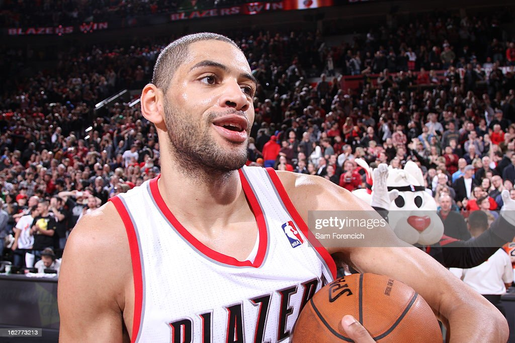 A close up shot of <a gi-track='captionPersonalityLinkClicked' href=/galleries/search?phrase=Nicolas+Batum&family=editorial&specificpeople=3746275 ng-click='$event.stopPropagation()'>Nicolas Batum</a> #88 of the Portland Trail Blazers during the game against the Los Angeles Clippers on January 26, 2013 at the Rose Garden Arena in Portland, Oregon.