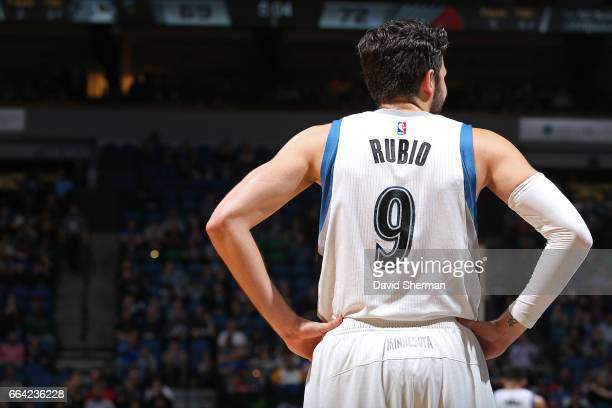 A close up shot of Ricky Rubio of the Minnesota Timberwolves during the game against the Portland Trail Blazers at the Target Center in Minneapolis...