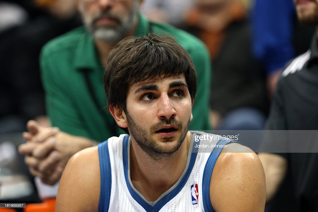 A close up shot of Ricky Rubio #9 of the Minnesota Timberwolves on the bench against the Brooklyn Nets on January 23, 2013 at Target Center in Minneapolis, Minnesota.