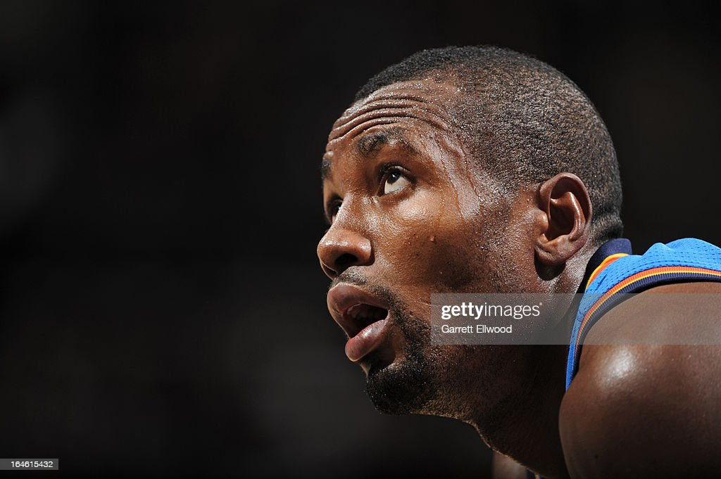 A close up shot of Serge Ibaka #9 of the Oklahoma City Thunder during the game against the San Antonio Spurs on March 11, 2013 at the AT&T Center in San Antonio, Texas.